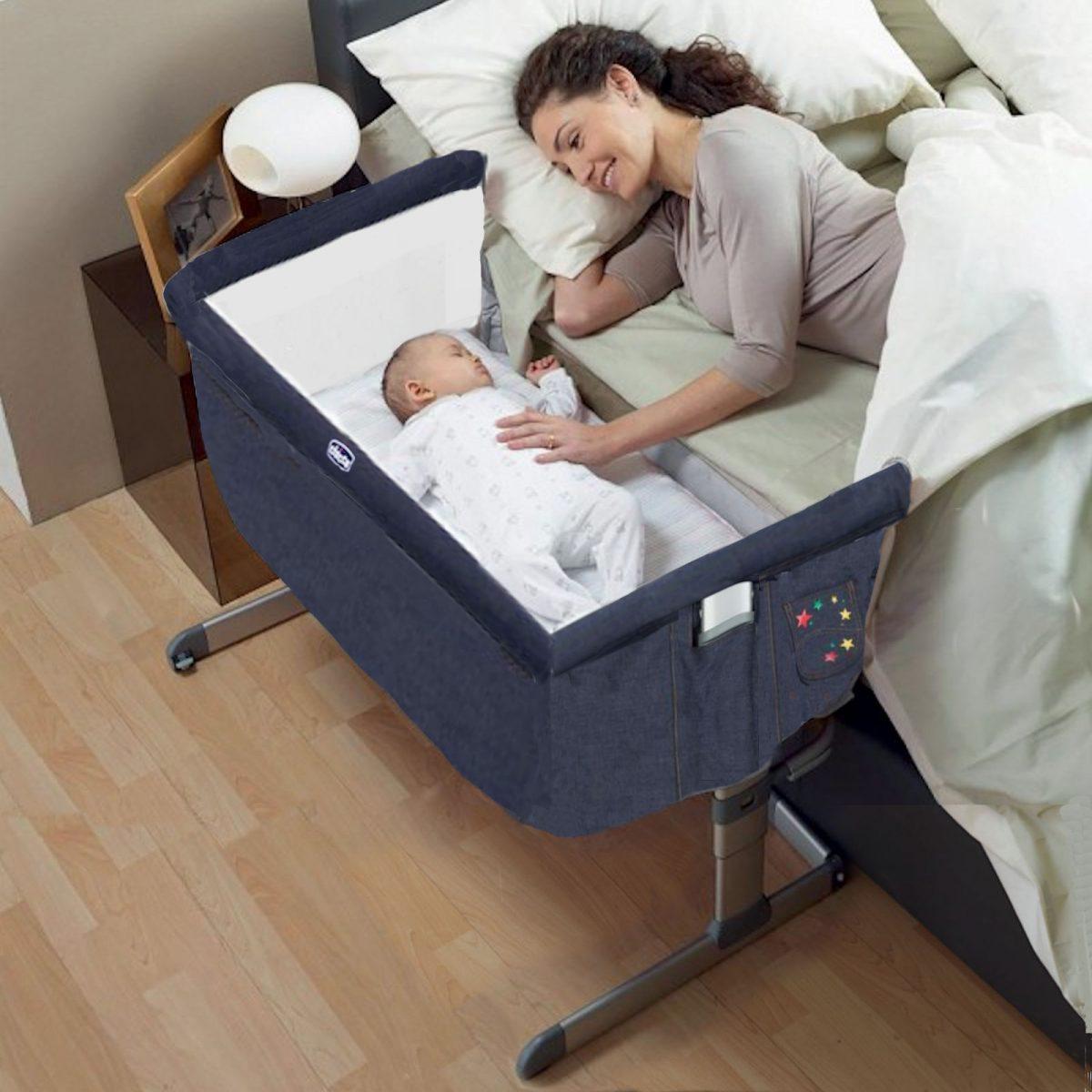 Next 2 Me Crib in use – denim